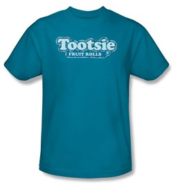 Tootsie Roll T-Shirts - Tootsie Fruit Rolls Logo Adult Turquoise Tee from A&E Designs