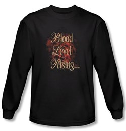 Zombie T-Shirt Blood Level Rising Black Adult Long Sleeve Tee Shirt from A&E Designs