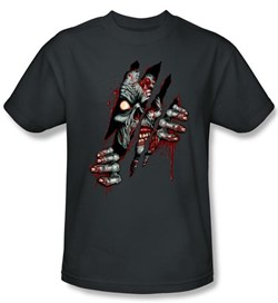 Zombie T-Shirt Clawing Free Adult Charcoal Tee Shirt from A&E Designs