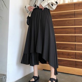 Asymmetrical A-Line Midi Skirt from A7 SEVEN