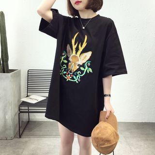 Deer Printed Long Tee from A7 SEVEN
