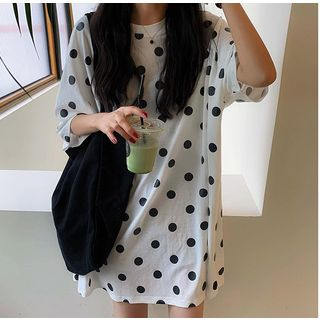 Dotted Elbow-Sleeve T-Shirt Dress from A7 SEVEN