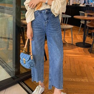 Irregular Hem Cropped Straight-Leg Jeans from A7 SEVEN