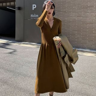 Long-Sleeve Knit Midi A-Line Dress from A7 SEVEN