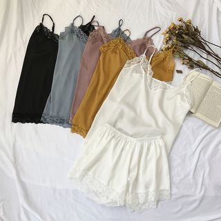 Pajama Set: Lace Trim Camisole Top + Shorts from A7 SEVEN