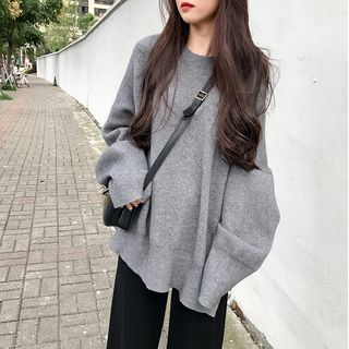 Plain Side-Slit Sweater from A7 SEVEN