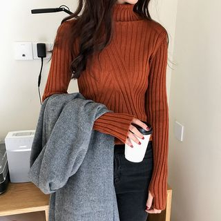 Plain Turtleneck Long Sleeve Knit Top from A7 SEVEN