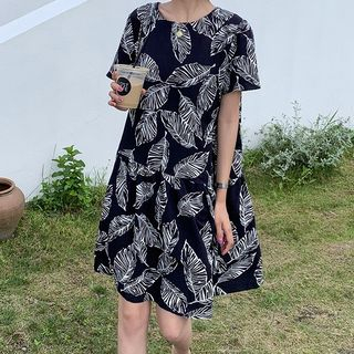 Short-Sleeve Leaf Print Dress from A7 SEVEN