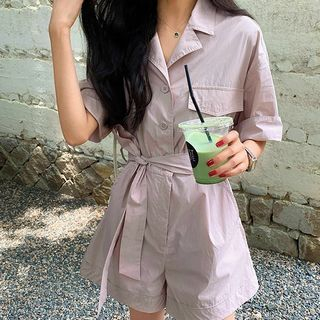 Tie Waist Elbow-Sleeve Playsuit from A7 SEVEN
