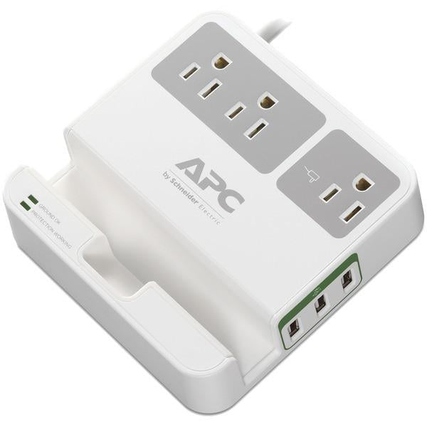 APC P3U3 3-Outlet SurgeArrest Surge Protector with 3 USB Ports (White) from APC