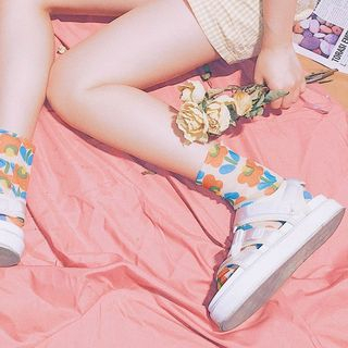 Flower Print Mesh Socks from ASAIDA