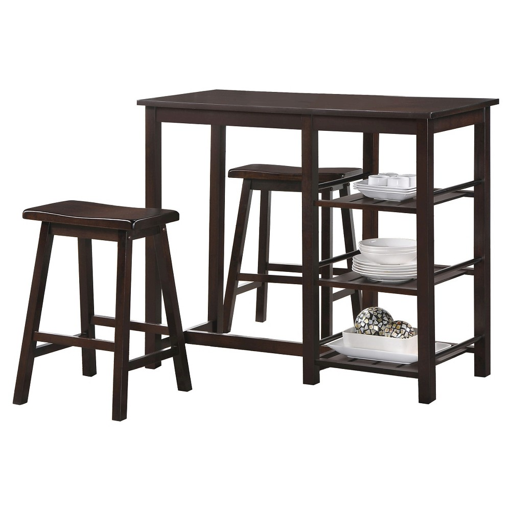 3pc Nyssa Counter Height Dining Set Wood/Walnut - Acme Furniture from Acme Furniture