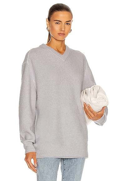 Acne Studios Oversized V Neck Sweater in Blue,Gray from Acne Studios