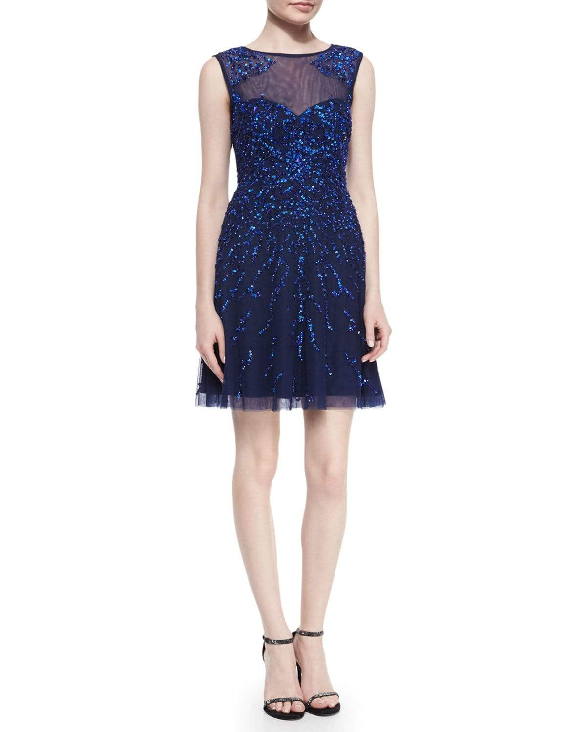Adrianna Papell - 54465630 Illusion Jewel Sequined Mesh Cocktail Dress from Adrianna Papell