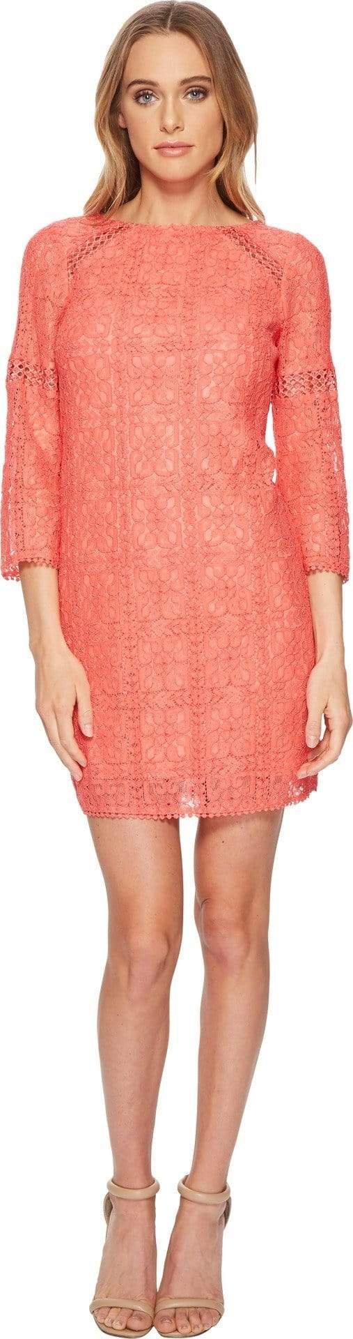 Adrianna Papell - AP1D102465 Quarter Length Sleeve Lace Shift Dress from Adrianna Papell