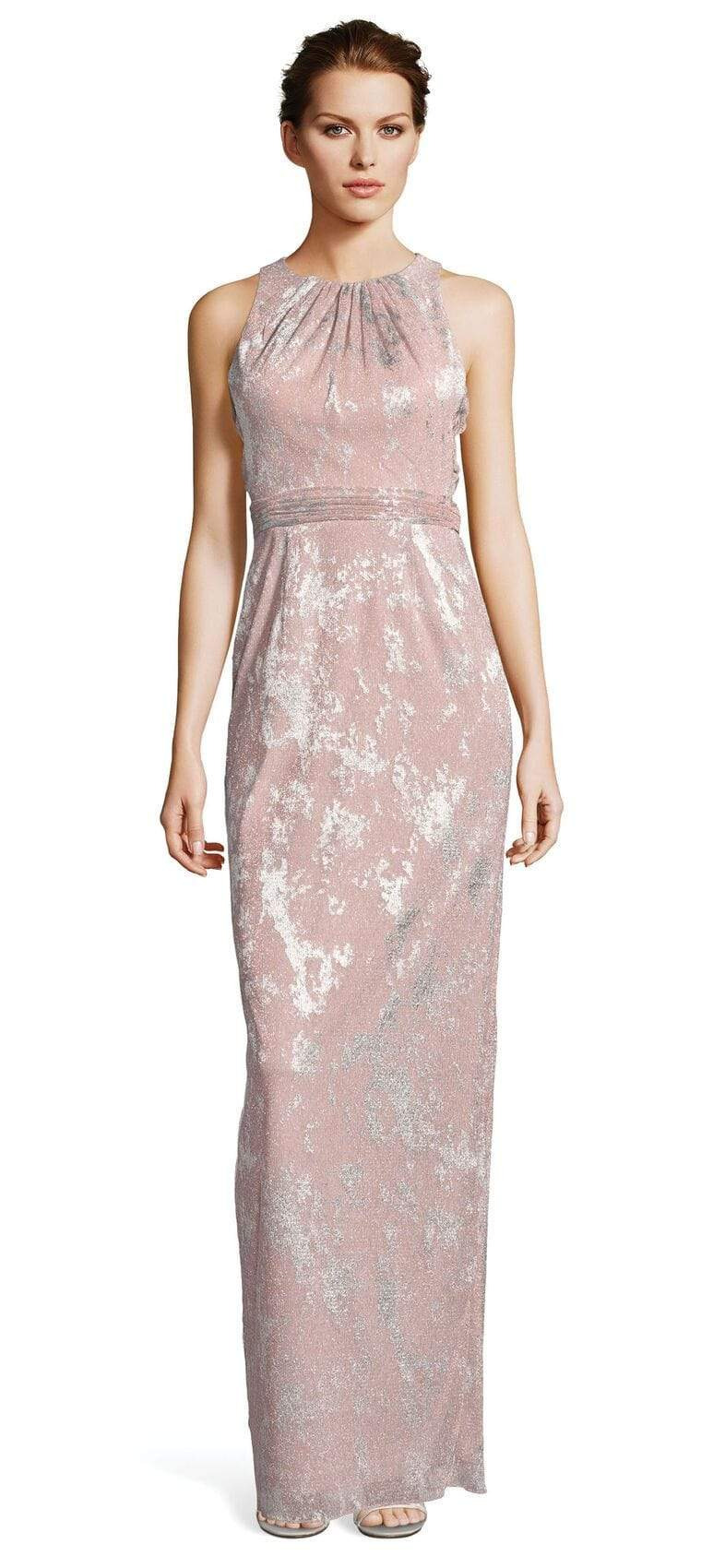 Adrianna Papell - AP1E203063 Pleated Jewel Metallic Knit Column Dress from Adrianna Papell