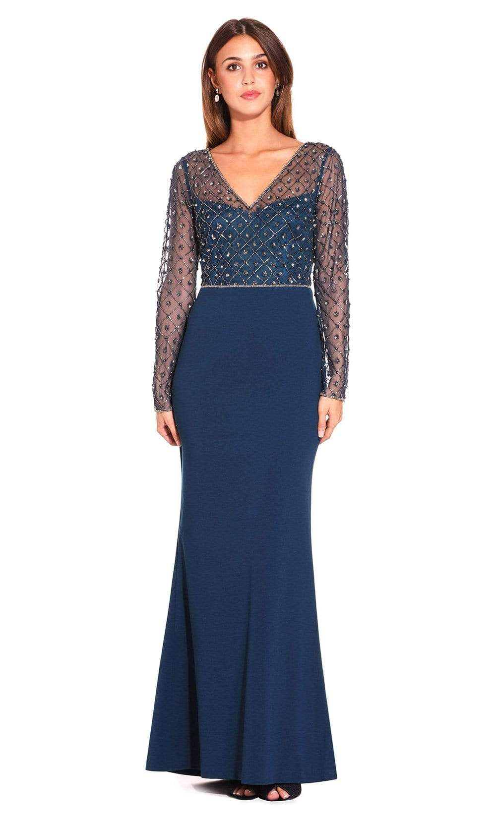 Adrianna Papell - AP1E203730 Embellished V-Neck Evening Gown from Adrianna Papell