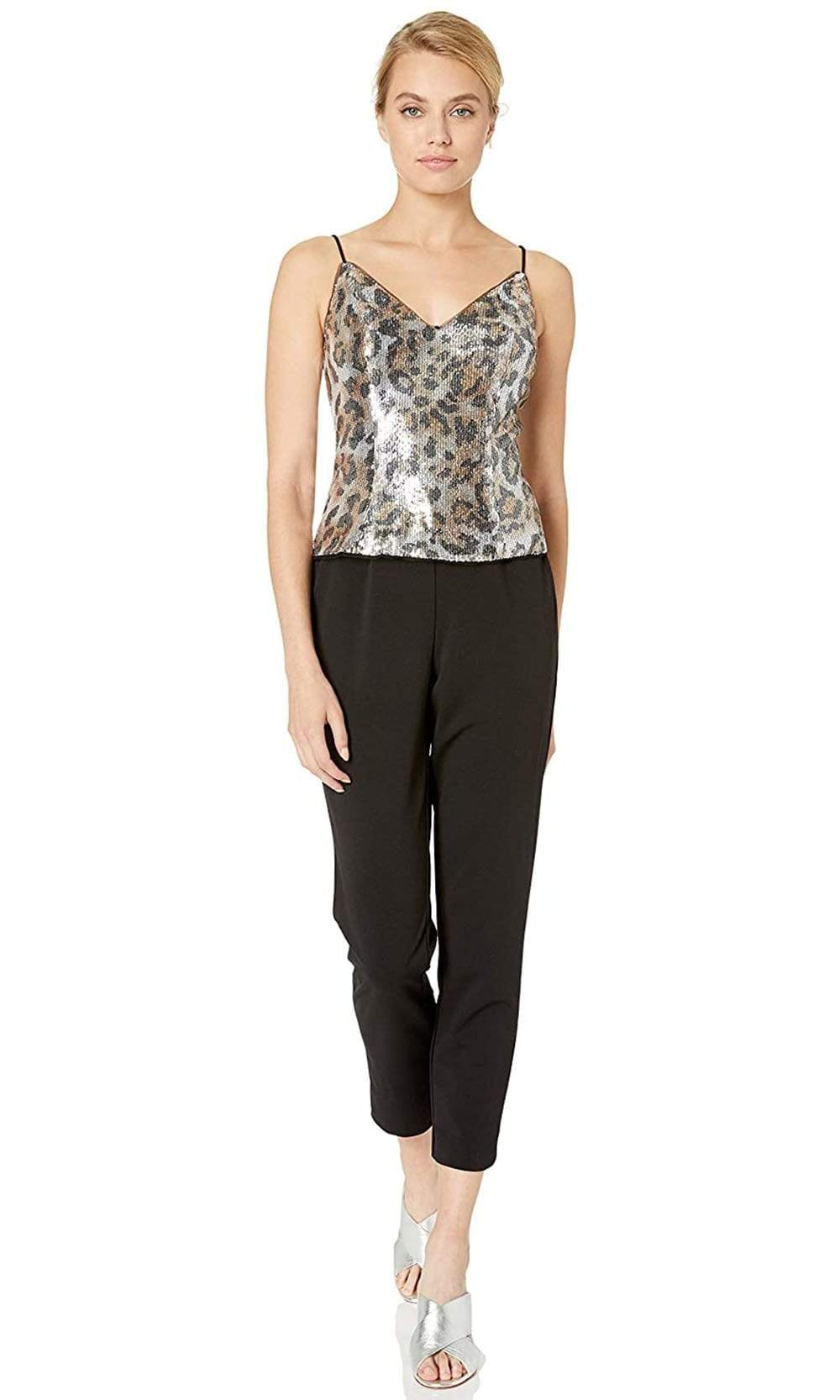 Adrianna Papell - AP1E206282 Sequined Animal Print Top Jumpsuit from Adrianna Papell