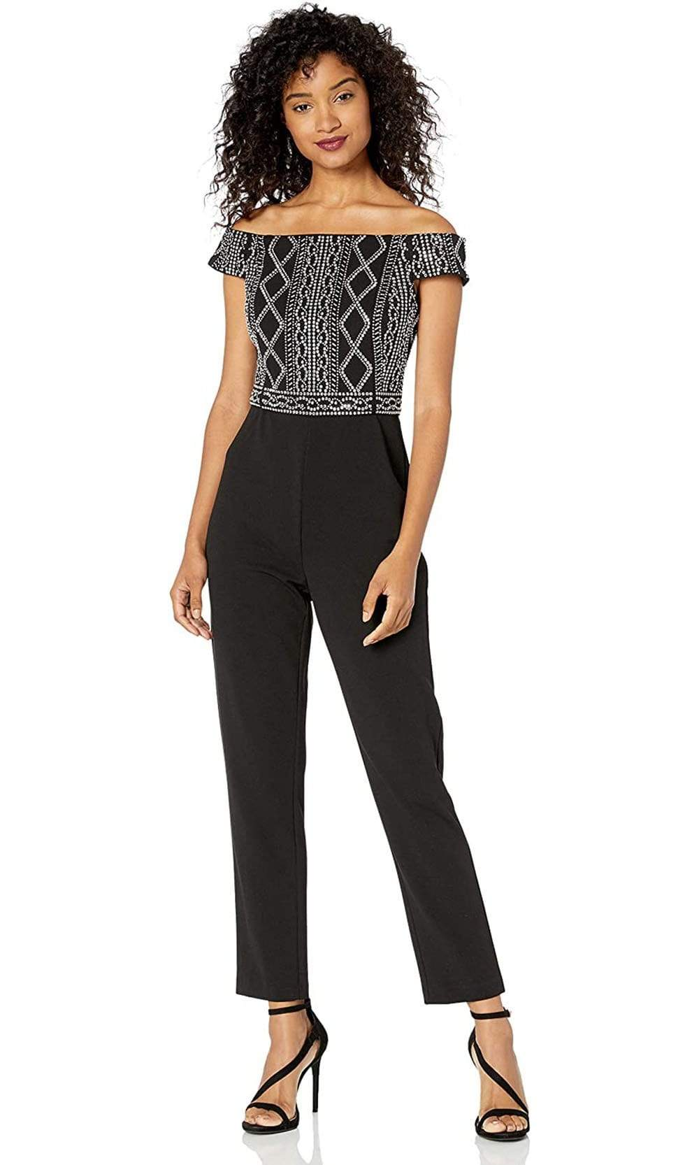 Adrianna Papell - AP1E206601 Embellished Off Shoulder Jumpsuit from Adrianna Papell