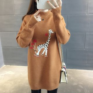 Giraffe Embroidered Mock-Neck Long Sweater from Ageha