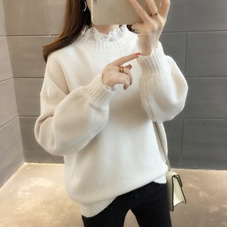 Lace-Trim Sweater from Ageha