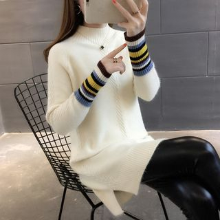 Mock-Neck Striped Panel Oversized Sweater from Ageha