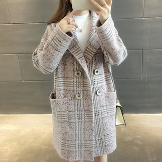 Plaid Double-Breasted Knit Coat from Ageha