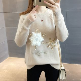 Sequined Snowflake Sweater from Ageha