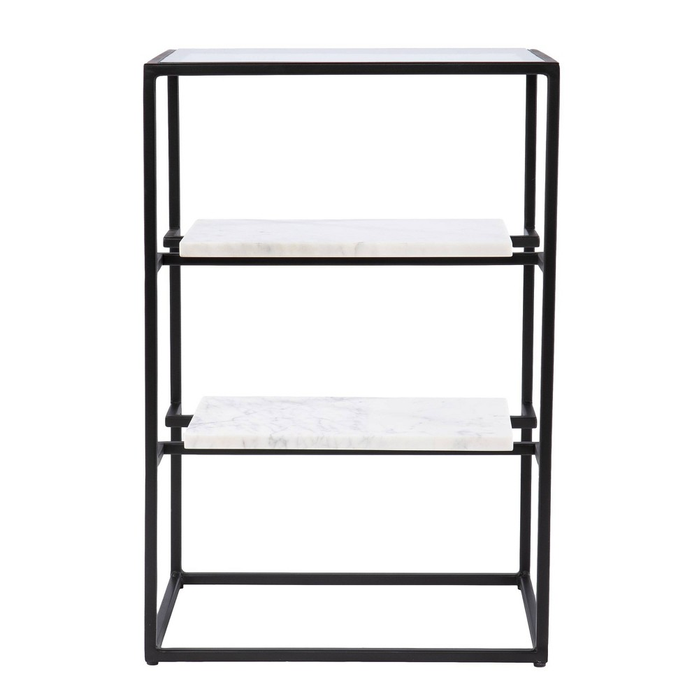 Ghullrio Glass Top End Table with Storage Black/White - Aiden Lane from Aiden Lane