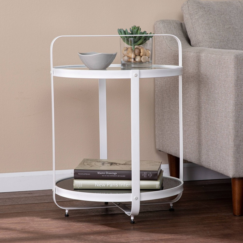 Libing Glass Top End Table Black/White - Aiden Lane from Aiden Lane