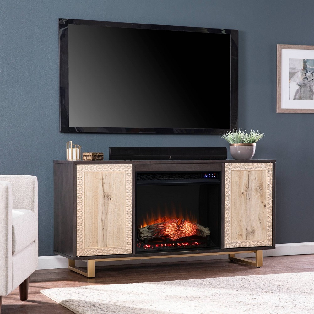 Shanmol Touch Panel Media Fireplace with Carved Details Dark Brown/Natural - Aiden Lane from Aiden Lane