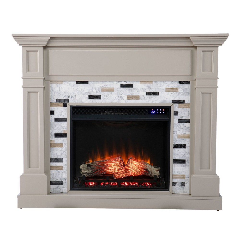Talsham Touch Panel Fireplace with Marble Surround Gray - Aiden Lane from Aiden Lane