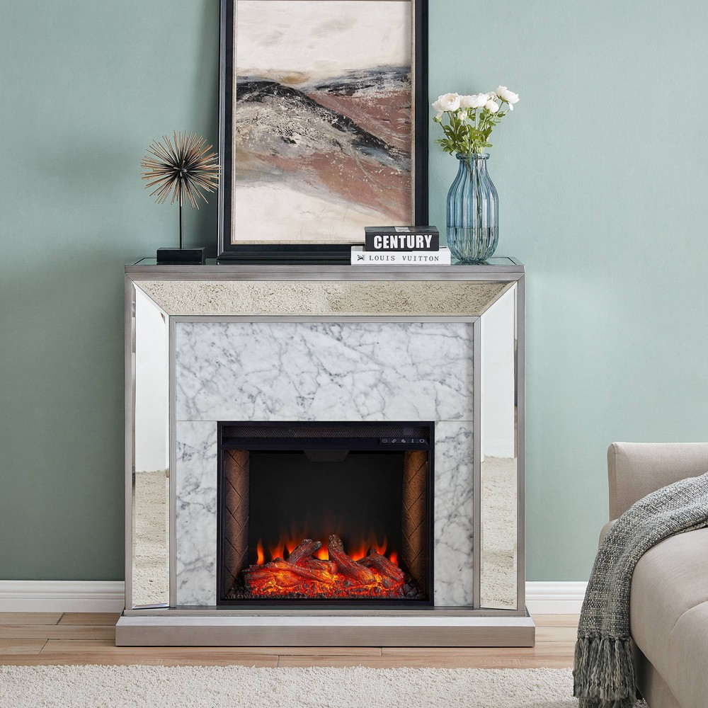 Tynchel Mirrored Smart Fireplace with Faux Stone Antique Silver - Aiden Lane from Aiden Lane