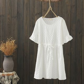 Bell-Sleeve Embroidered A-Line Dress White - One Size from Aigan