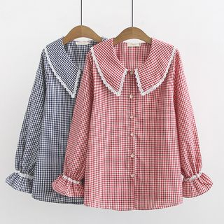 Bell-Sleeve Plaid Blouse from Aigan