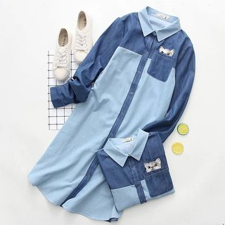 Color Block Embroidery Denim Shirtdress from Aigan