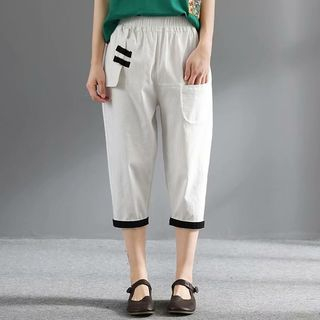 Contrast Trim Cropped Harem Pants from Aigan