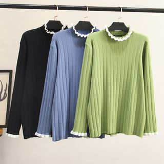 Contrast Trim Long-Sleeve Knit Top from Aigan