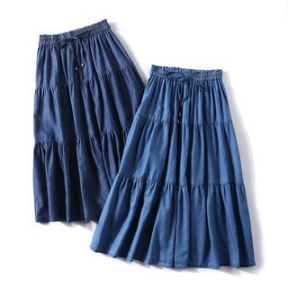 Denim Midi A-Line Skirt from Aigan