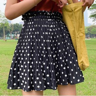 Dotted Pleated A-Line Skirt from Aigan