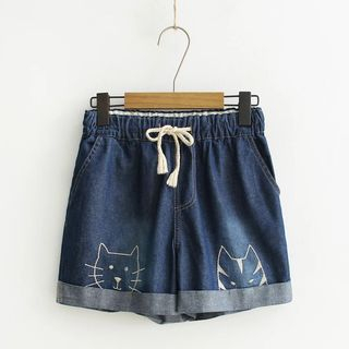 Drawstring Embroidery Denim Shorts from Aigan