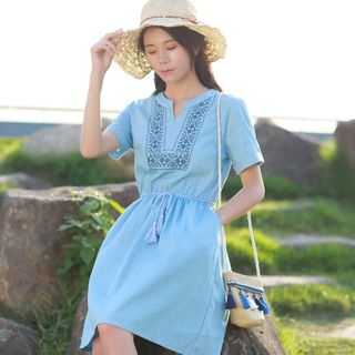Embroidered Short-Sleeve A-line Dress from Aigan
