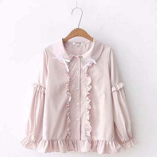 Frill Trim Peter Pan Collar Blouse from Aigan