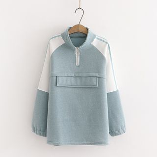 Half-Zip Color Panel Sweatshirt Blue - One Size from Aigan