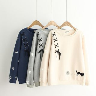 Lace-Up Embroidered Pullover from Aigan