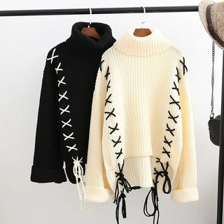 Lace-Up Turtleneck Sweater from Aigan