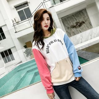 Letter Printed Color-Block Hoodie As Shown In Figure - One Size from Aigan