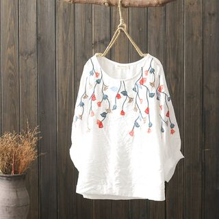 Long-Sleeve Leaf Embroidered Top from Aigan