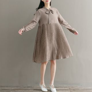 Long-Sleeve Plaid Pleated Dress from Aigan