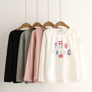 Long-Sleeve Stitched Lettering T-Shirt from Aigan